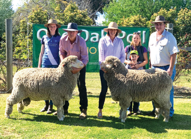 """Two of the three $6000 One Oak Poll sale-toppers with Amelia, Alistair and Natasha Wells, and buyers Helen and Mark Hoskinson and their grandson, from """"Fernleigh"""", Kikiora."""